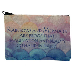 Rainbows and Mermaids Small Linen Zippered Pouch Coin Purse Cosmetic Makeup Bag