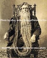 Old/Vintage '12 Weird/Strange Freak/Side Show Long Beard Man King Whiskers Photo
