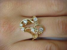 14K YELLOW GOLD, FREE STYLE LADIES RING WITH 6 DIAMONDS 0.40CT T.W., 3.7 GRAMS