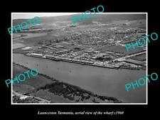OLD POSTCARD SIZE PHOTO OF LAUNCESTON TASMANIA AERIAL VIEW OF THE WHARF c1960