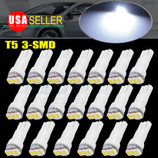 20x Super Bright White 3SMD T5 Wedge Led Dash Gauge Instrument Panel Light Bulb