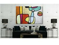 Mid Century - Vibrant Abstract Canvas Wall Art Print - Various Sizes