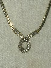 Vintage Avon Gold-Toned Herringbone Necklace with White Stones in a Loop Design
