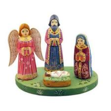 """Hand Carved Painted Wooden Nativity of Christ Set With Angel 7"""""""
