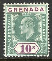 Grenada 1904 green/purple 10/- multi-crown CA perf 14 mint SG76