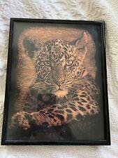 Leopard Cub Copper Etched Art, Big Cat Wild Safari Wall Décor, Framed Handmade