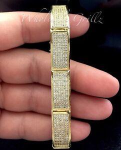 Sleek! $299 Mens 14k Gold gp CUSTOM Simulate Diamond Micro Pave Hip Hop Bracelet