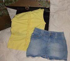 Xhiliration Light Blue Denim Skirt 7/8 Gap Kids Yellow Ruffle Shirt 8 Lot Outfit