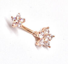 ROSE GOLD Clear CZ Crystal Flower Navel Bar Belly Button 316L Surgical Steel-UK