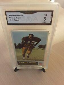 1965 Philadelphia Football #195 Charlie Taylor ROOKIE HOFer GMA Graded EX *5*!!!