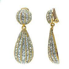 Kenneth Jay Lane gold tone rhinestone teardrop clip earrings 4197EGSC
