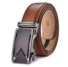 Belt Men's Genuine Leather Brown Cowskin Designer Graphite Auto Buckle Zabardo