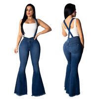 Fashion Women Slim Long Bell-bottom Suspender Jeans Trousers Casual Denim Pants