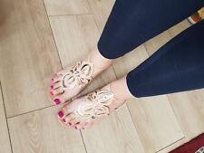 Aldo nude beige unusual flat sandals with gold flower detail uk6 / 39