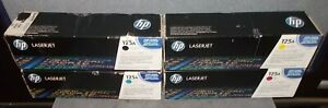 Lot of 4 Genuine HP 125A Toner Cartridges For CP1515 CM1312 ~ All 4 Colors ~ NEW