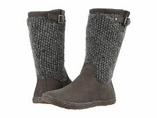 UGGS Ugg Lyza Chunky Knit Wool Sweater Leather Mid Calf Boots Grey Booties 6 M