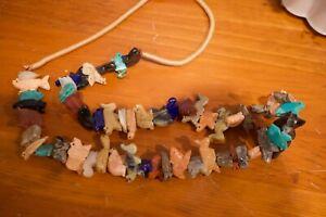 VTG Southwestern Natural Stone Fetish Carved Animals & Bear Hand Slip Necklace