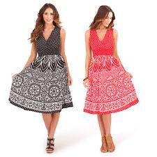 Pistachio Damen Blumenmuster Crossover Weiche Baumwolle Plunge V Ausschnitt Midi Skater Kleid