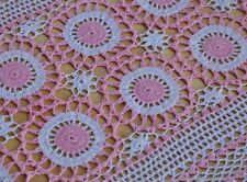 "2PCS Gorgeous Hand Crochet White Pink Cotton Doilies Placemats 23x14""thin thread"