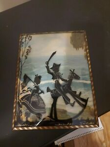 Vintage Silhouette Reversed Painting -Boy & Girl Playing Army -Bubbled Glass