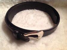 Men's Tony Lama western black leather belt with silver tone buckle made US sz 34