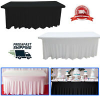 6ft Spandex Table Cloth 190GSM Rectangle Skirt Style Table Cover Parties Banquet