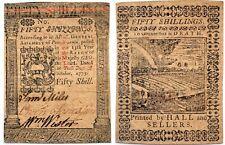 1773 Pennsylvania 50 shillings note, CHOICE VF, bold printing, NEAT FARM SCENE!