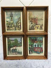 Vintage Mid Century Maurice Utrillo  Wood Framed Art Set Of 4 Signed