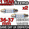 2x 36mm NUMBER PLATE INTERIOR LIGHT FESTOON BULB 6 LED XENON WHITE 239 12v C5W