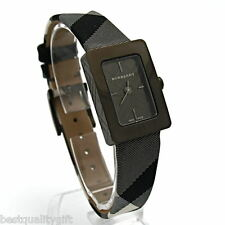 NEW BURBERRY ENGRAVED BLACK DIAL PLAID CHECKED SIGNATURE BAND WATCH BU1159