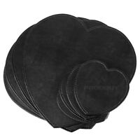 Set of 4 Placemats & Coasters Black Faux Leather Heart Table Place Settings Mats