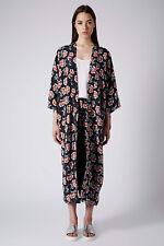 Topshop by Boutique Floral Navy Blue Silk Kimono Top $320