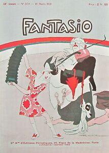ROUBILLE Original 1931 Vintage French Fantasio Art Print COMIC STREET MUSICIANS