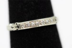 VINTAGE ESTATE 18K SOLID WHITE GOLD 7 AUTHENTIC OLD CUT DIAMONDS SIZE 5.75 BAND