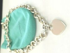 Tiffany & Co. Silver (.925)  Heart Tag Chain Necklace w/Pouch
