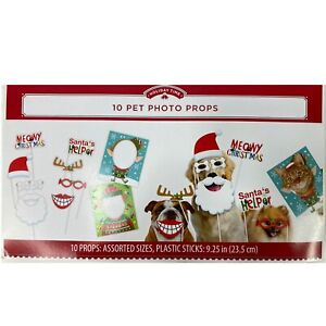 10-Piece Christmas Holiday Pet Photo Props for Cats, Dogs etc. Funny Selfie Xmas