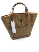 Dooney & Bourke Camden Woven Leather Small Camel Brown Tote Crossbody NWT
