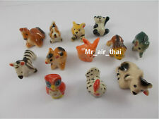 lot of 12 Miniatures Animals Elephant Figurines Painted Ceramic Porcelain doll