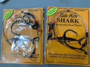 2 MUSTAD SHARK TIDE RITE SIZE 10/0 SURF SHARK SAMSU IN-LINE RIG R965 FISH HOOKS
