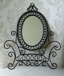 "Ornate Black Metal Chair Shaped Frame Oval Mirror w/Rhinestones 14"" x 11.5"""