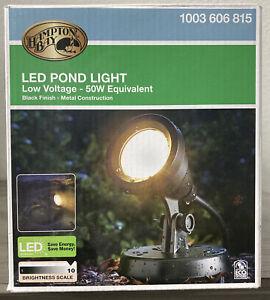 New Hampton Bay 1-Light Integrated LED Black Low Voltage Pond Light 1003 606 815