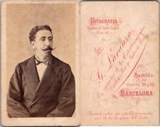 Larauza, Barcelona, Homme à la moustache effilée mode Napoléon III, circa 1865 C