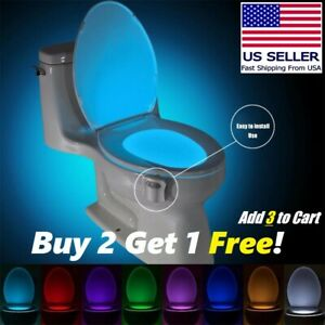 Bowl Bathroom Toilet Night LED 8 Color Lamp Sensor Lights Motion Activated Light