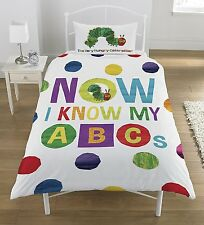 THE VERY HUNGRY CATERPILLAR ABC SINGLE BED DUVET COVER SET REVERSIBLE COLOURFUL