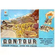 Vintage Milton Bradley Contour Textured Jigsaw Puzzle 500 Piece - Swiss Mountain