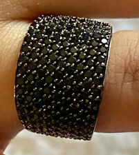 Chuck Clemency Solid 925 Sterling Silver Pave Black Spinel Gemstone Ring Sz 8.5