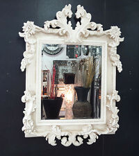 French Shabby Chic Vintage Antique White/Cream Ornate Mirror Glass 107x76cm New