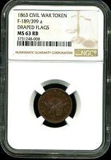1863 1C Civil War Token Draped Flags Ms63 Rb Ngc 3731248-008 F-189/399a