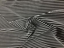 FABRIC RIBBED BLACK WHITE STRIPES Stretch Jersey Knitted Dress Soft 140CM
