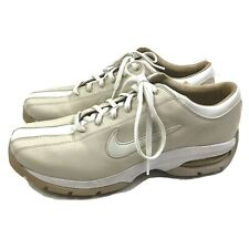 Nike Air Golf Shoes Womens US 10M Beige White Leather Soft Spikes Lace Up Euc
